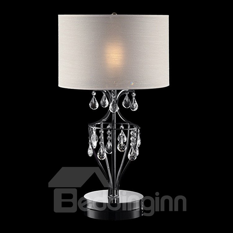 Enticing Crystal Fabric Shade 1 Light Lamp