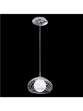 Electroplated Finish Round Shape Metal Frame Glass Shade 1 Head Pendant Light