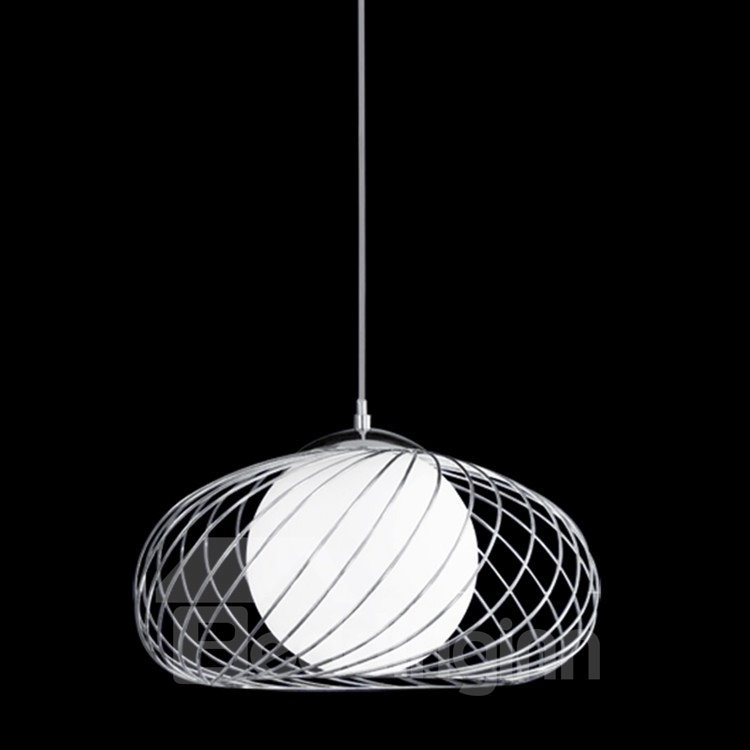 Comtemporary Amazing Net Metal Glass Shade Electroplated Finish Pendant Light