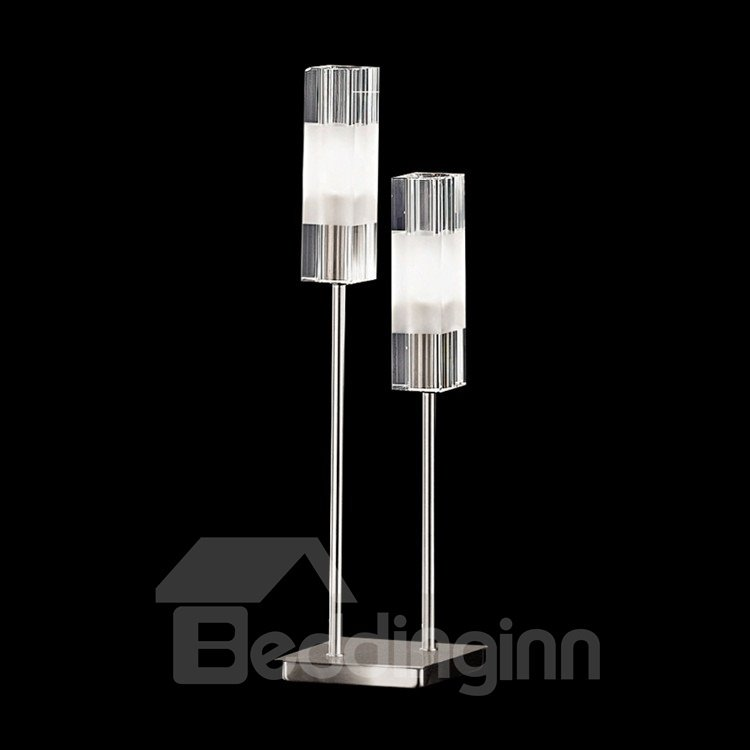 Fashionable Shining Metal Glass Shade 2 Lights Lamp