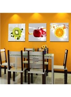 White Simple Style Apple Orange and Kiwi 3-pieces Canvas Wall Art Prints