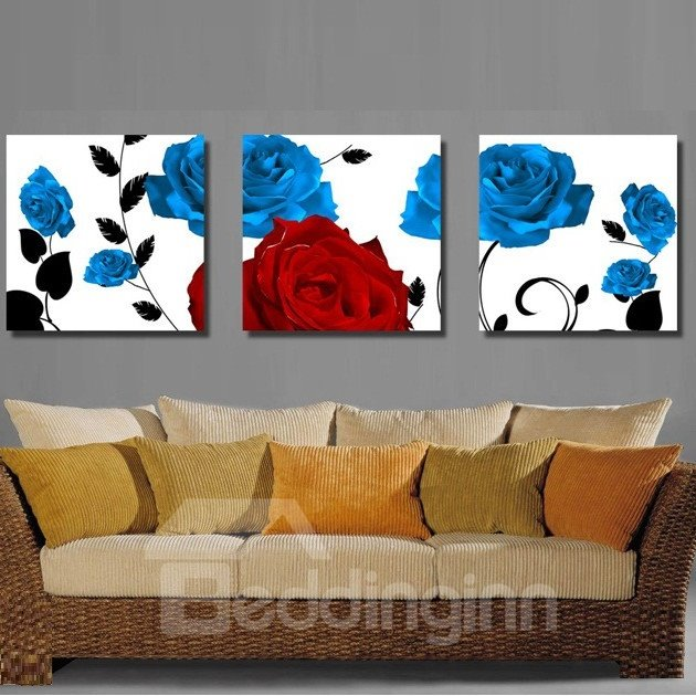 Blue and Red Roses Pattern 3-pieces Canvas Framed Wall Art Prints