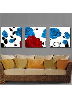 Blue and Red Roses Pattern None Framed 3-pieces Canvas Wall Art Prints
