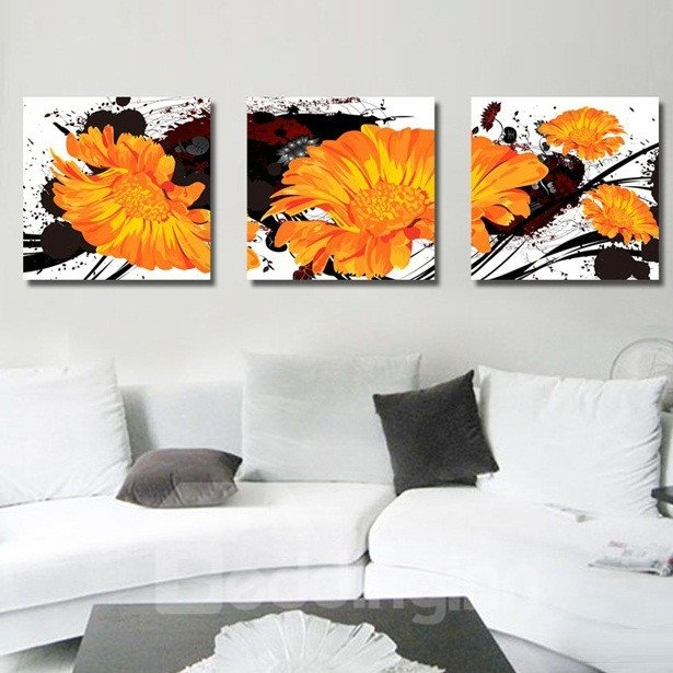 New Arrival Delicate Orange Flowers Canvas Wall Prints
