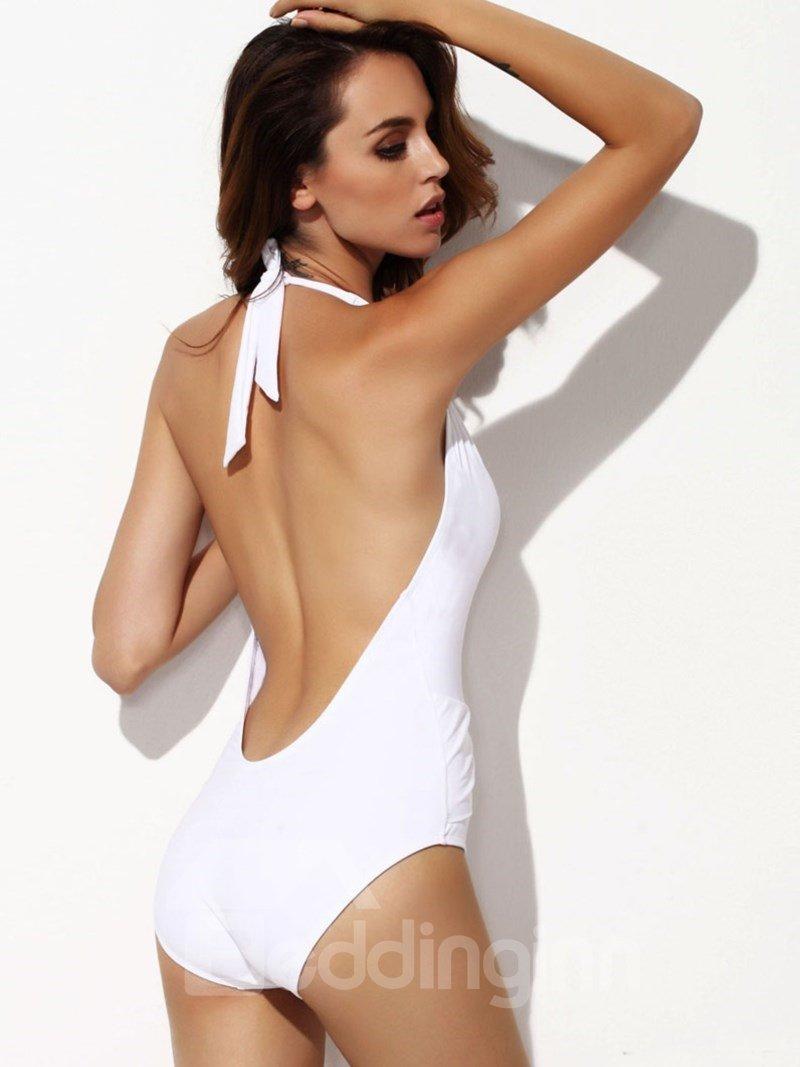 Sexy White Halter Deep-V Pintuck Siamese Bikini