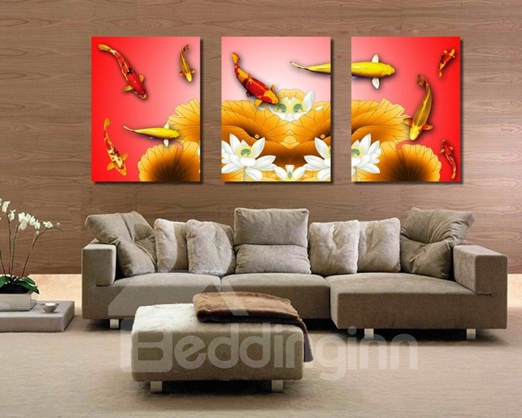 New Arrival Fish and Lotus in Water Canvas Wall Prints