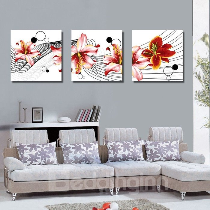 New Arrival Delicate Red Flowers Blossom Canvas Wall Prints