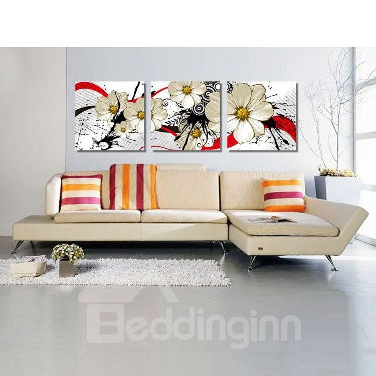New Arrival Yellow Flowers and Geometric Figure Canvas Wall Prints