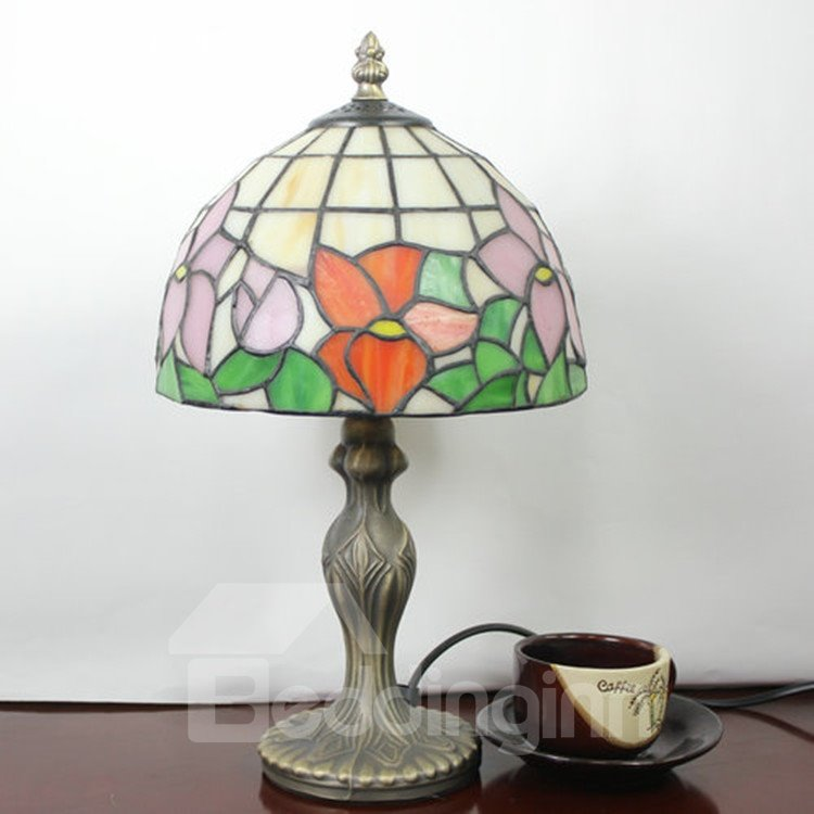 8-inch Tiffany Style Floral Pattern Stained and Glass Table Lamp