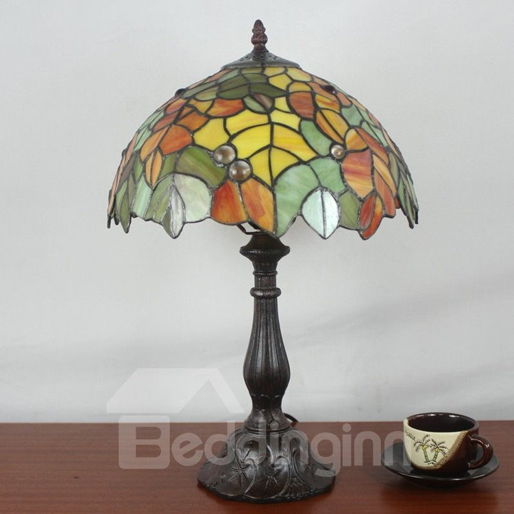 12-Inch Tiffany Leaves Pattern Stained Glass Table Lamp