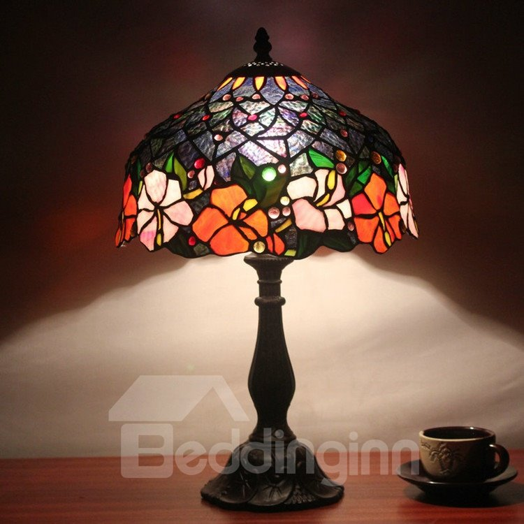 12 inch glamorous tiffany style floral pattern stained glass table 12 inch glamorous tiffany style floral pattern stained glass table lamp aloadofball Gallery