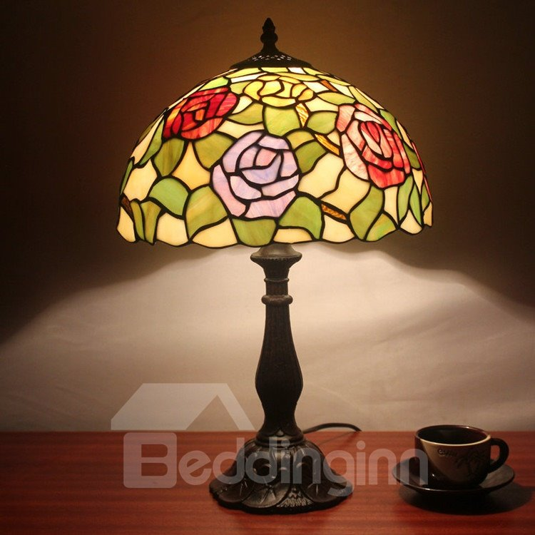 12-Inch Tempting Tiffany Style Floral Pattern Stained Glass Table Lamp