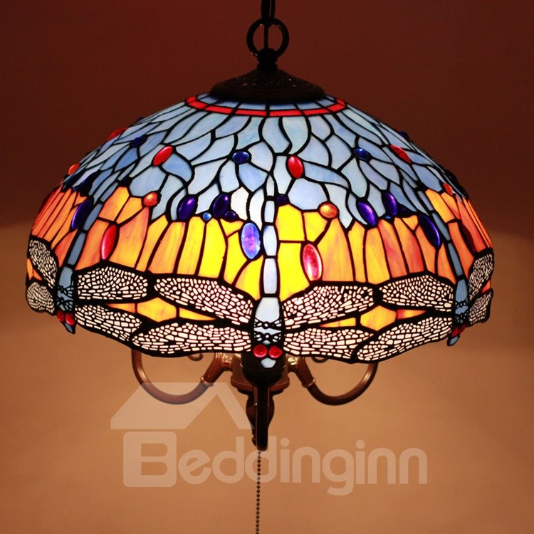 16-Inch Gorgeous Pretty Dragonfly Pattern Tiffany Stained Glass Pendant Light