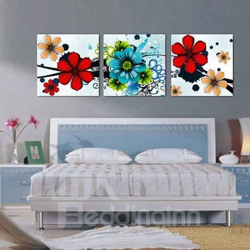 New Arrival Bright Colorful Flowers Blossom Canvas Wall Prints