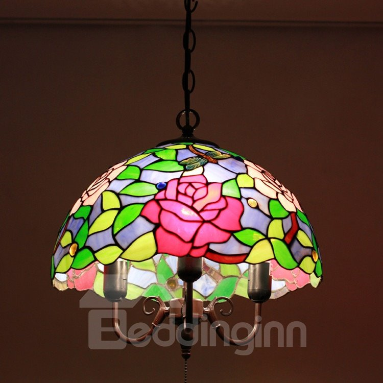 16-Inch Pretty Droaonfly aand Flower Pattern Tiffany Stained Glass Pendant Light