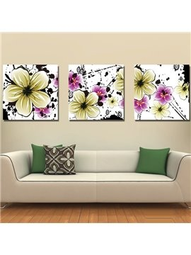 New Arrival Blooming Yellow and Purple Flowers Canvas Wall Prints