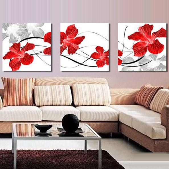 New Arrival Gorgeous Red Flowers Blossom Canvas Wall Prints