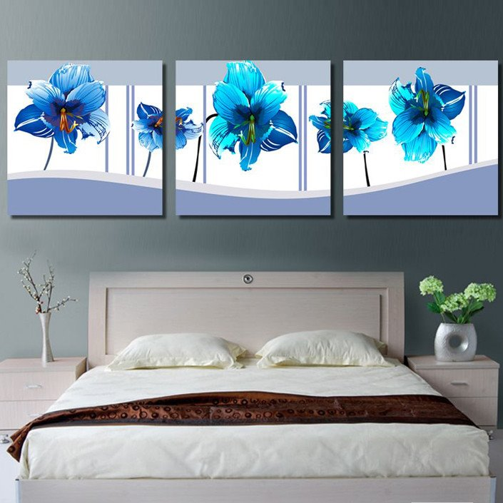 16×16in×3 Panels White Background with Blue Flowers Hanging Canvas Waterproof Eco-friendly Framed Prints