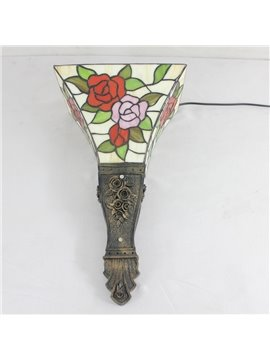 14-Inch Alluring Tiffany Style Roses Pattern Stained Glass Pocket Lantern