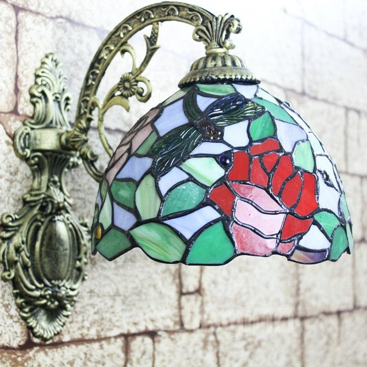 Alluring Tiffany Style Dragonfly and Rose Pattern Stained Glass Wall Light