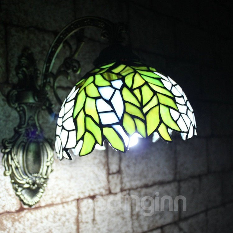 Amazing Tiffany Style Leaves Pattern Stained Glass Wall Light