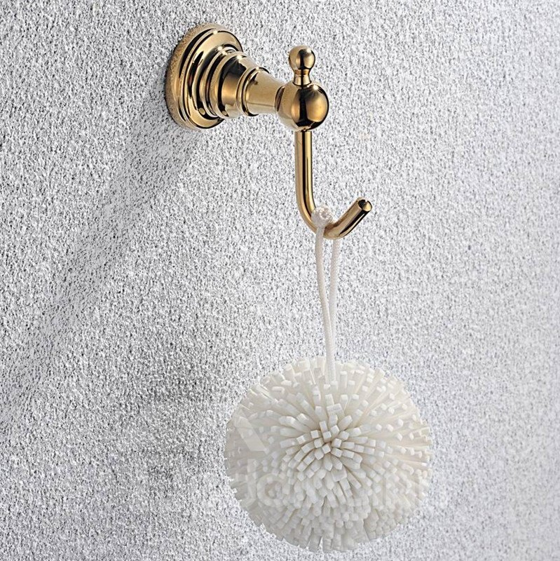 Contemporary Ti-PVD Finish Bathroom Accessories Brass Single Robe Hook
