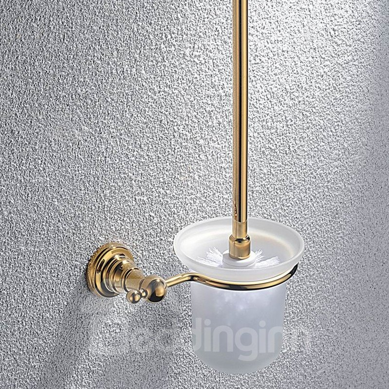 Contemporary Ti-PVD Finish Bathroom Accessories Brass Toilet Brush Rack