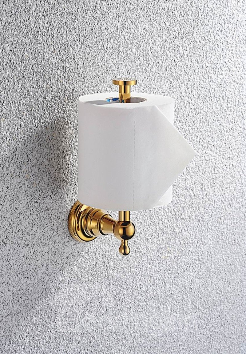Contemporary Ti-PVD Finish Bathroom Accessories Brass Toile Paper Rack with Cover