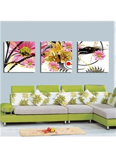 New Arrival Blooming Yellow and Pink Flowers Canvas Wall Prints