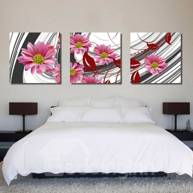 New Arrival Pink Flowers Toward Sunshine Canvas Wall Prints