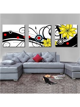 New Arrival Blooming Yellow Flowers and Geometric Figure Canvas Wall Prints