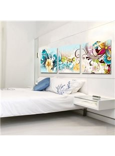 20×20in×3 Panels Colored Flowers Hanging Canvas Waterproof and Eco-friendly Framed Wall Decor