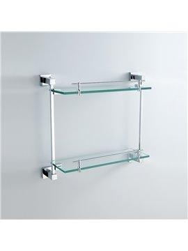 Chrome Finish Brass Wall Mounted Glass Shelf