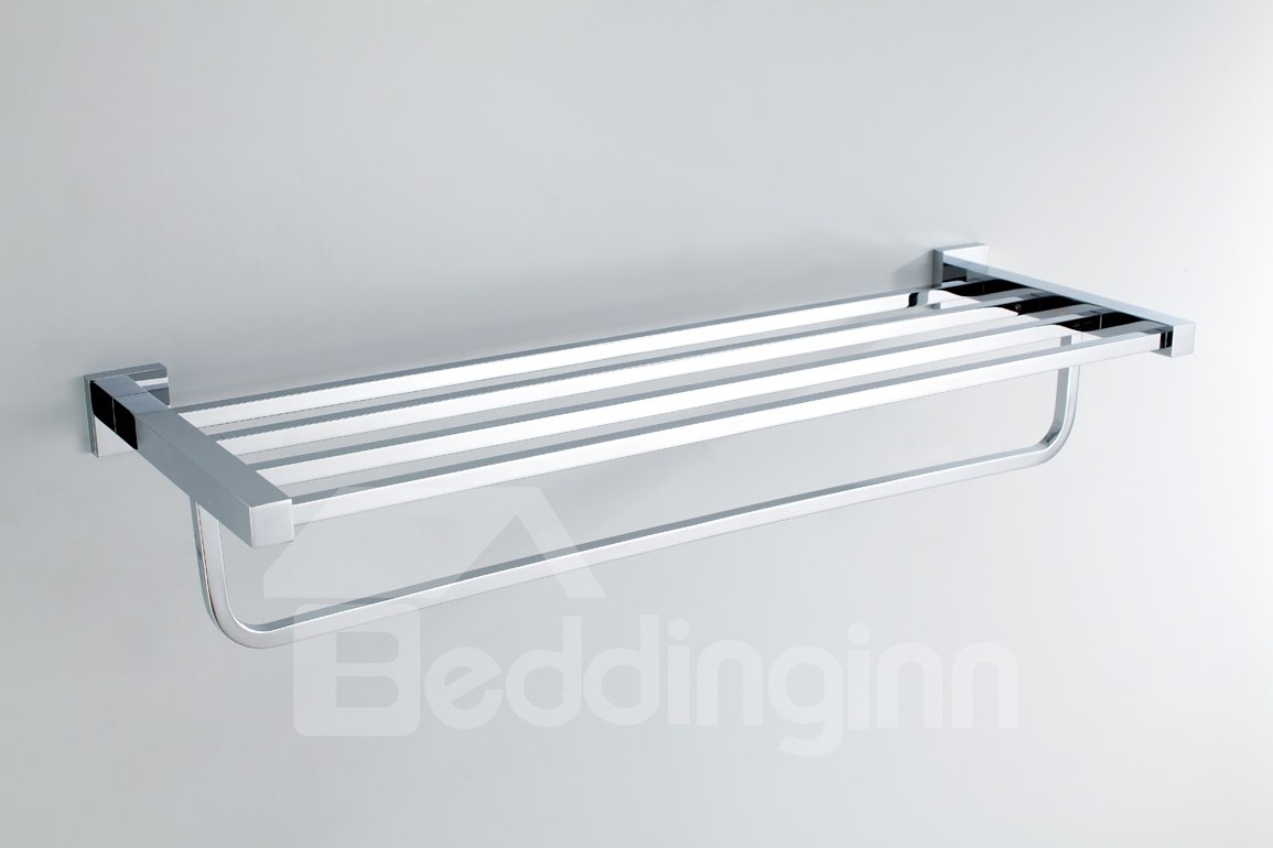 Chrome Finished Solid Brass 24 Inch Towel Bar Bathroom Shelf