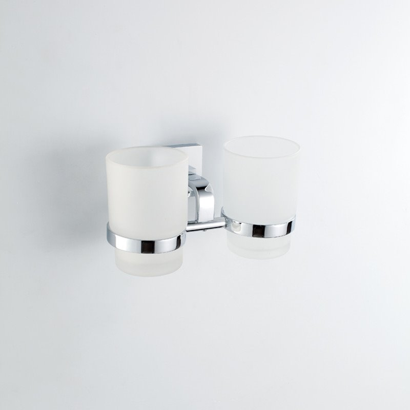 Contemporary Style Wall Mounted Brass Double Cup Toothbrush Holder Rack