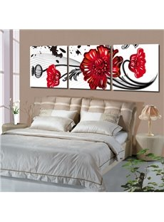 16×16in×3 Panels Red Flowers Hanging Canvas Waterproof and Eco-friendly White Framed Prints