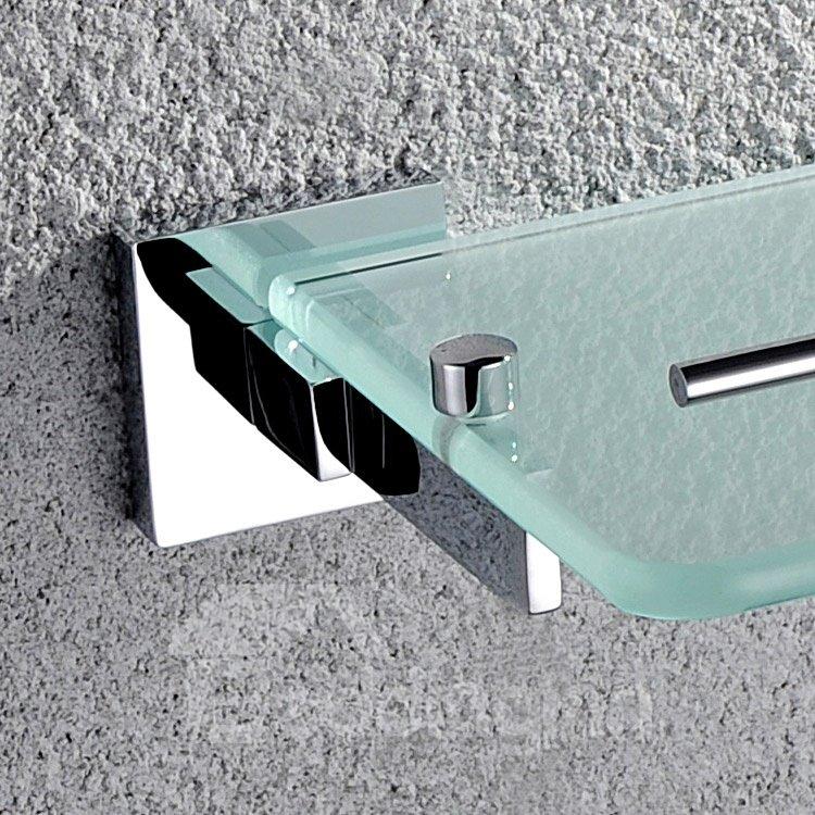 Contemporary Style Metal Guardrail Brass Glass Shelf