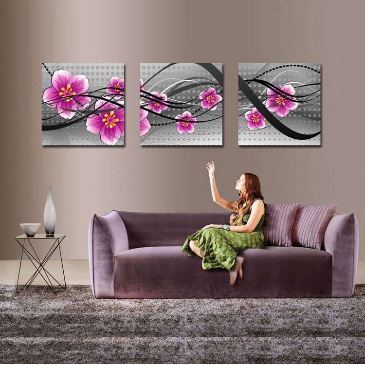 16×16in×3 Panels Pink Flowers Hanging Canvas Waterproof and Eco-friendly Framed Prints