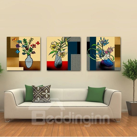 New Arrival Blooming Flowers In Unique Bottles Canvas Wall Prints