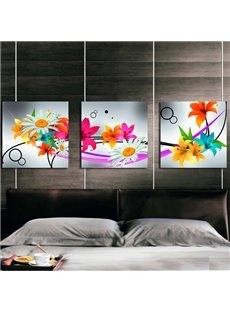 Colorful Various Blooming Flowers Pattern Three Panels Framed Canvas Wall Art Prints