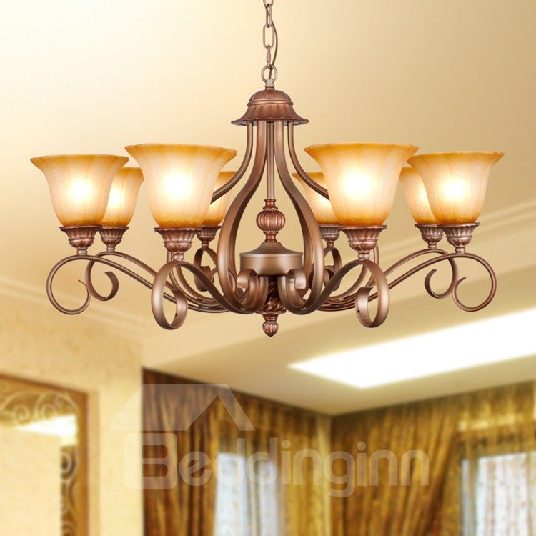 Bronze Iron Marerial Glass Shade 8 Lights Chandelier