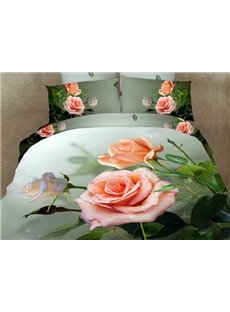 Beautiful Dewy Rose Print 3D Duvet Cover Sets