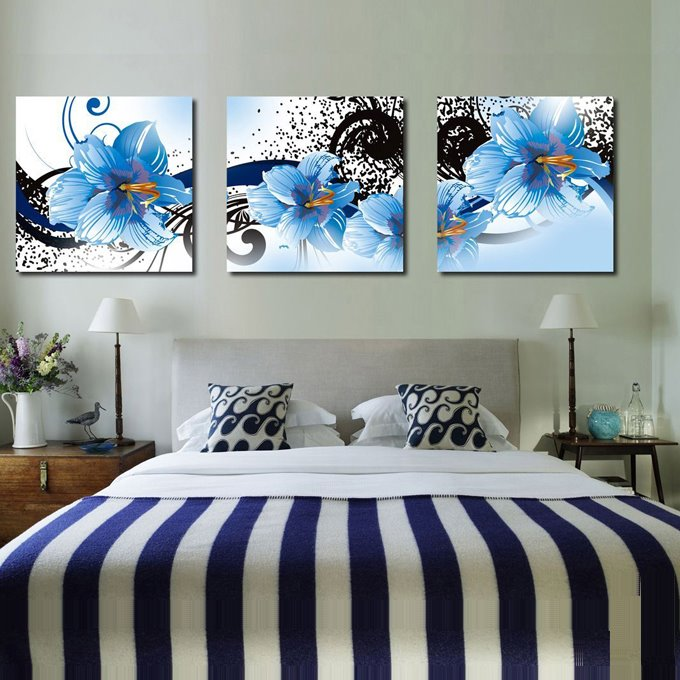 Fancy and Elegant Flowers Pattern 3-piece Framed Canvas Wall Art Prints