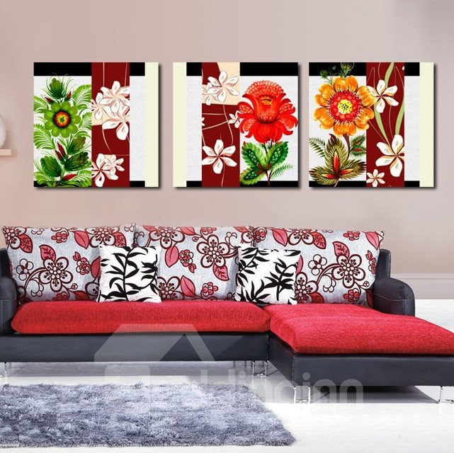 New Arrival Colorful and Fancy Flowers and Green Leaves Canvas Wall Prints