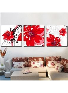 New Arrival Lovely and Fancy Red Flowers Canvas Wall Prints