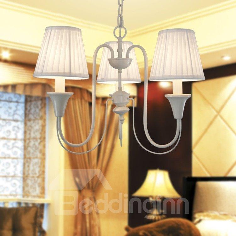 Iron Mareria Fabric Shade 3 Lights Chandelier
