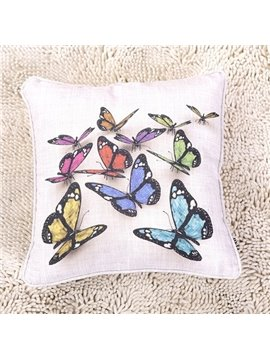 Realistic Colorful Butterflies Print 3D Throw Pillows