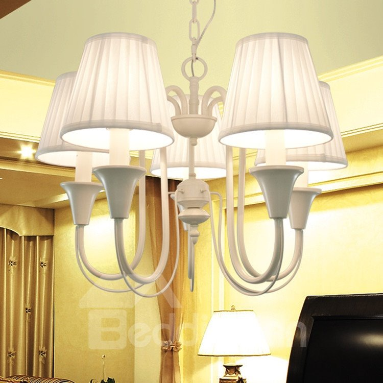 Iron Marerial Fabric Shade 5 Lights Chandelier