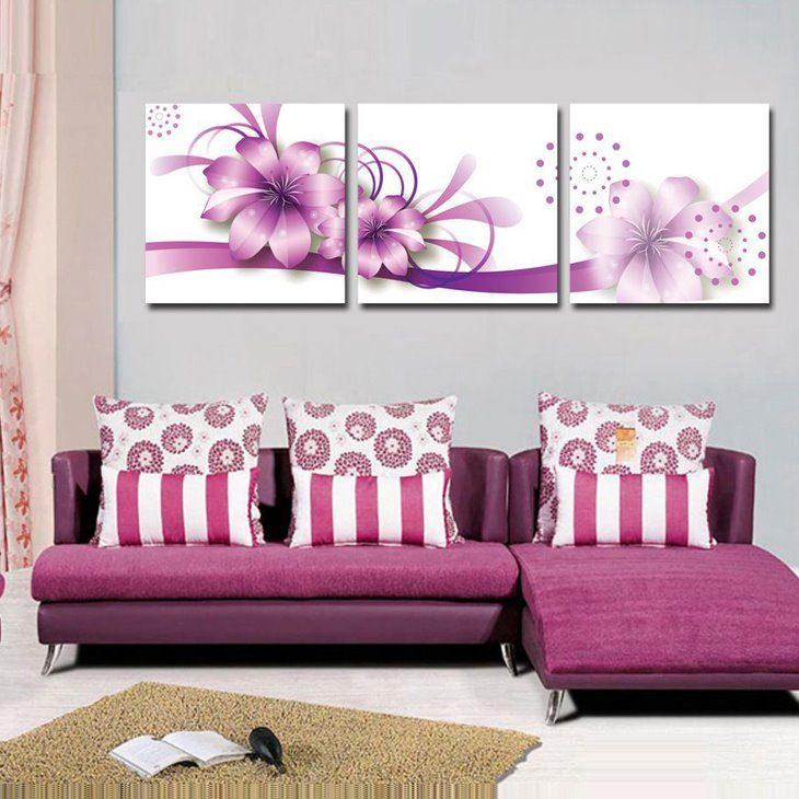 New Arrival Delicate and Fancy Purple Flowers Blossom Canvas Wall ...