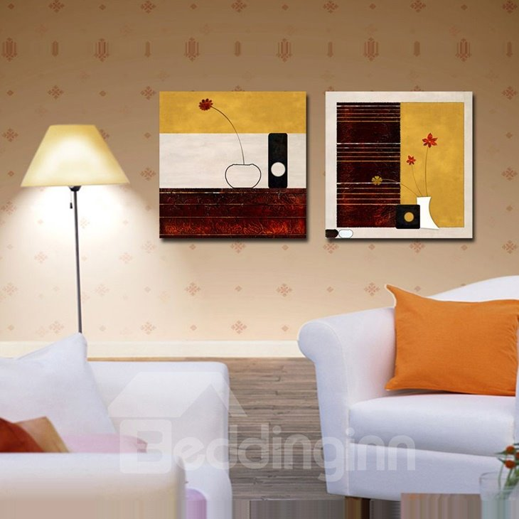 New Arrival Red and Yellow Flower in Bottle Canvas Wall Prints